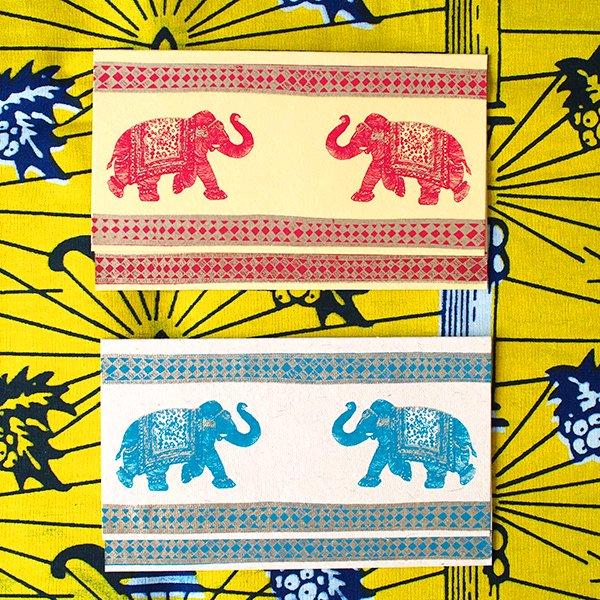インド  chimanlals (チマンラール) ゾウ メッセージカード(封筒付き)【画像3】