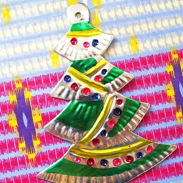 メキシコ ブリキオーナメント(クリスマスツリー)【画像3】