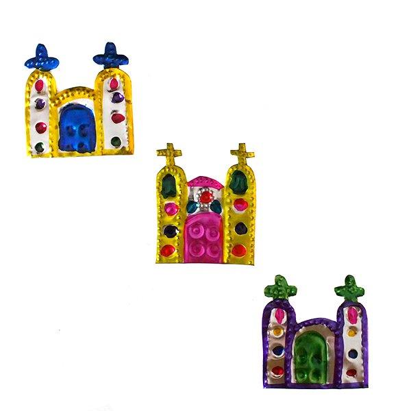 メキシコ ブリキのオーナメントマグネット(教会)【画像3】