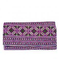 ベトナム 少数民族 モン族 刺繍 長財布(パープル)民族 刺繍 / ベトナム直輸入