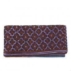 ベトナム 少数民族 モン族 刺繍 長財布(濃いパープル)民族 刺繍 / ベトナム直輸入