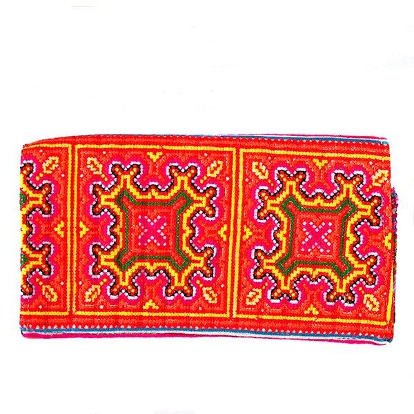 ベトナム 少数民族 モン族 刺繍 長財布(オレンジ A)