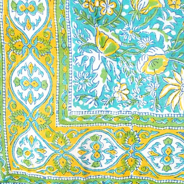 インド カフェカーテン(植物 イエロー・ブルー)【画像7】