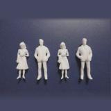 1/50未塗装ホワイト人形フォーマルな装いの男女4体