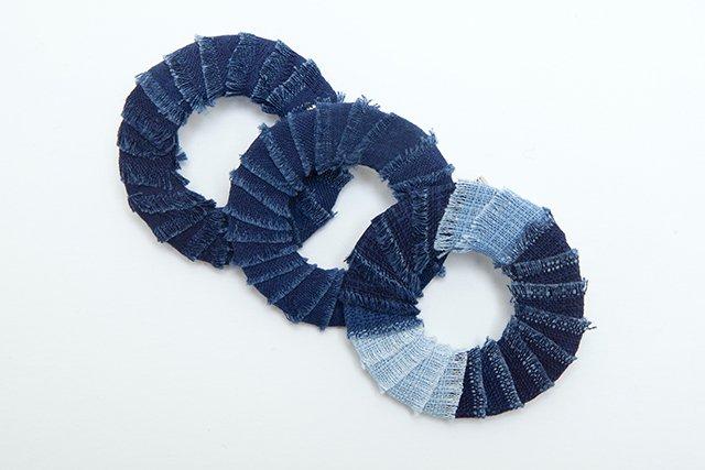 藍染 ブローチ