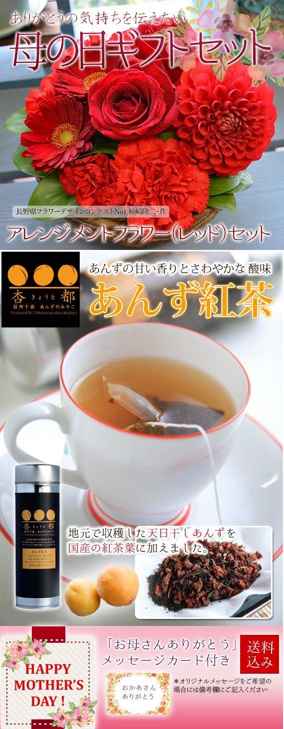 【送料込み】プレミアムアレンジメントフラワー&あんず紅茶セットF【母の日2017】