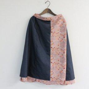 着物リメイクピンク小花ウールと大島紬合せリバーシブルスカート