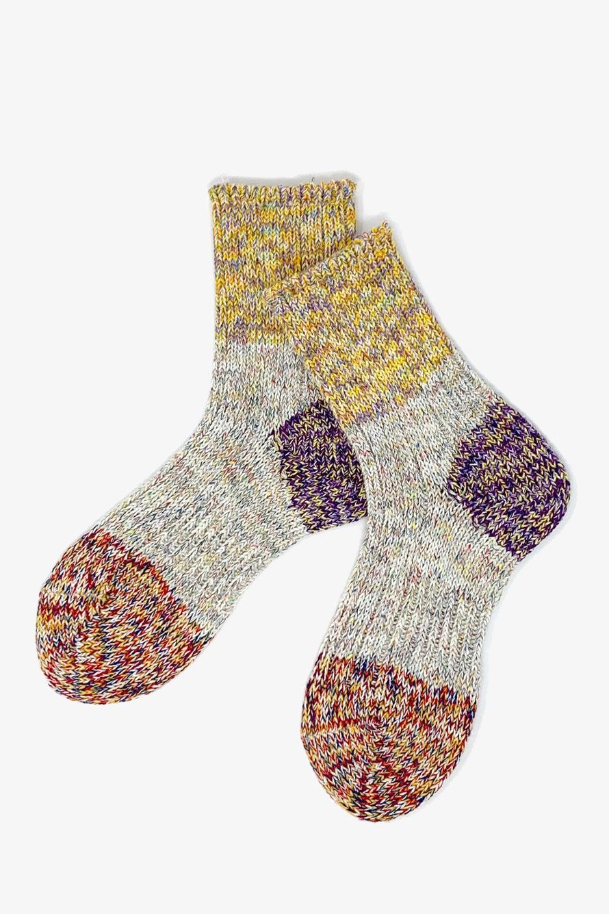 TMSO-104【Tepid Breeze Hemp Socks】YELLOW/PURPLE/RED(イエロー/パープル/レッド)