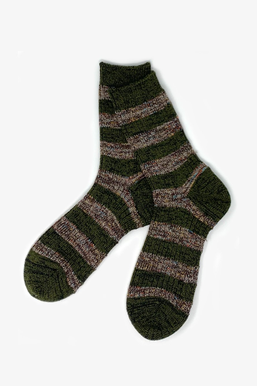 TMSO-115 【Garden Fence Hemp Socks】 OLIVE×BROWN(オリーブ×ブラウン)