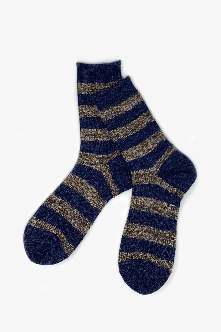 TMSO-115 【Garden Fence Hemp Socks】 NAVY×BROWN(ネイビー×ブラウン)