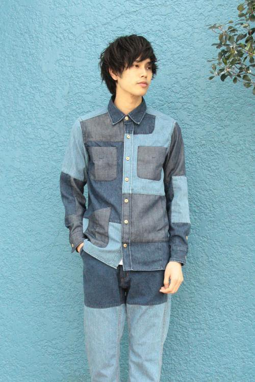 Used Patchwork Shirts_DENIM