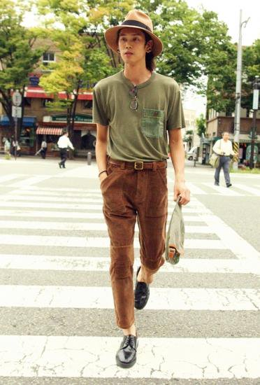 Corduroy Patch Pants BROWN
