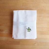 Kayakijifukin / かや生地ふきん 刺繍 ポット〈グリーン〉
