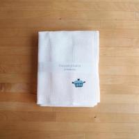 Kayakijifukin / かや生地ふきん 刺繍 パン〈ブルー〉