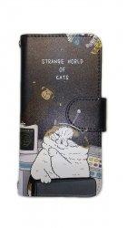 KORIRI 世にも不思議な猫世界 スマホケース/手帳型(iPhone7/8用)宇宙船