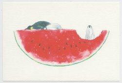 ポストカード スイカとペンギン by 村田なつか