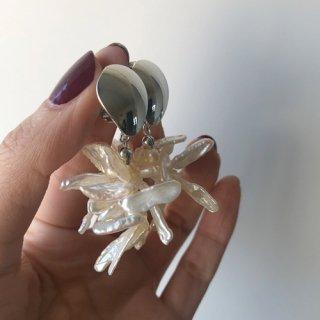 silver plate_淡水パール  pierce / earring