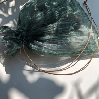 Pleated organdie sheer bag ◆drak mint