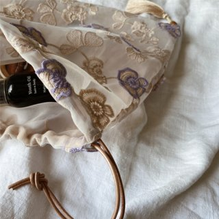 28日再販 Vintage flower organdie tassel bag(B)