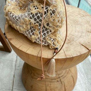 vintage flower mesh×organdie tassel bag