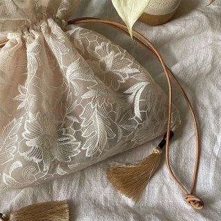28日発売 Vintage flower organdie tassel bag(C)