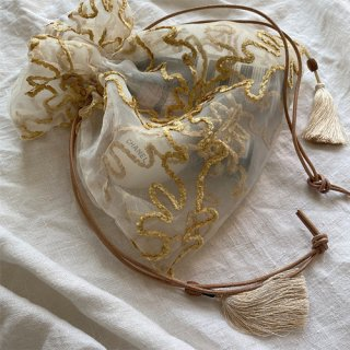 29日21:00再販 drawing organdy tassel bag