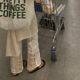 ◆21日21:00再販 linen×lace pants ※A