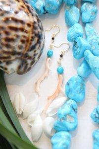 K18 枝珊瑚スリーピングビューティーターコイズロングピアス