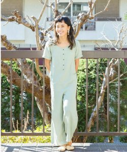【GLASSY SEA】DOUBLE GAUZE COTTON ROMPERS