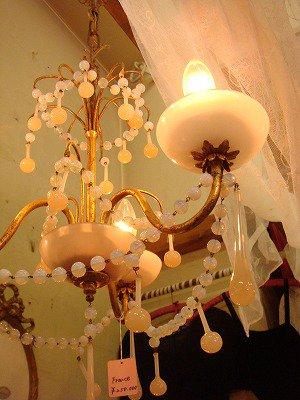 ピンクオパールセントドロップ3灯式シャンデリア       L