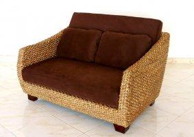 ウォーターヒヤシンスの美しい曲線が上品な2人掛けソファ