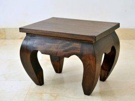 カーブした脚のデザインに南国の気配を感じてバリスタイルチークミニローテーブル【AS-056】