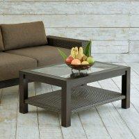 チーク無垢材を贅沢に使った重厚感あるチーク&ラタンローテーブル【AS-296】