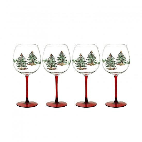 スポード Spode クリスマス・ツリー ワインゴブレット 4脚セット Wine Goblet with Red Stem, Set of 4