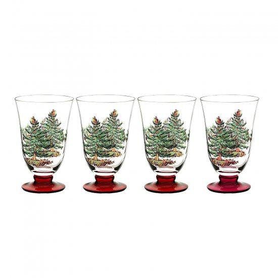 スポード Spode クリスマス・ツリー 多目的グラス 4脚セット Footed All Purpose Glasses with Red Stem, Set of…