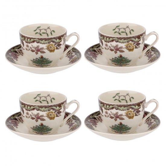スポード Spode クリスマス・ツリー グローブ Christmas Tree Grove Set of 4 Teacups & Saucersカップ&ソーサー4個セット