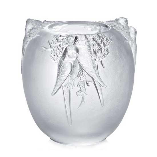ラリックLalique 花瓶・花器 Perruches 限定品49個 日本未入荷