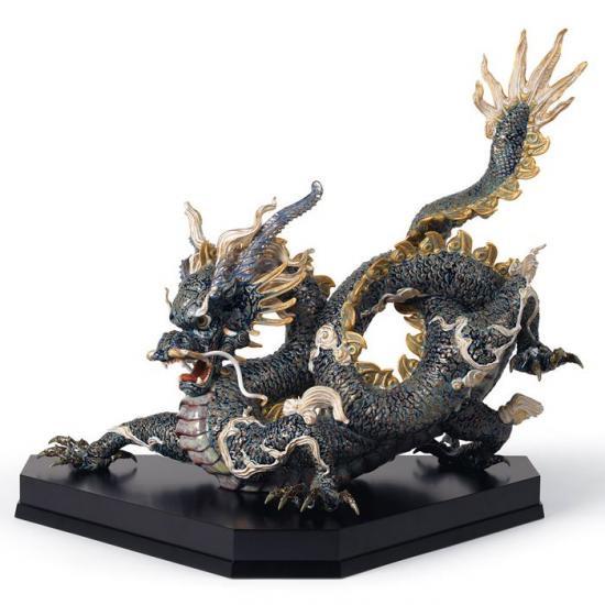 リヤドロ Lladro 臥龍  限定150体 -Great dragon (blue and golden)