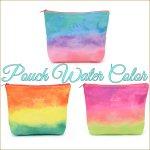 ポーチ ウォーターカラー 水彩 グラデーション レインボーカラー 化粧ポーチ 小物入れの画像