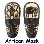 木彫り マスク アフリカ面 S 壁 飾り お面の画像