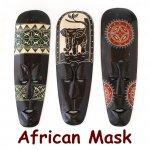 木彫り マスク アフリカ面 M 壁 飾り お面の画像