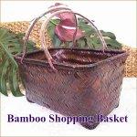 バンブー ショッピングバスケット ランドリーバスケット カゴ かごバッグの画像