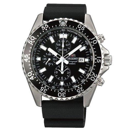 オリエント 時計 キャプテン TT11004B クロノグラフ ブラックダイアル×ブラックラバーベルト