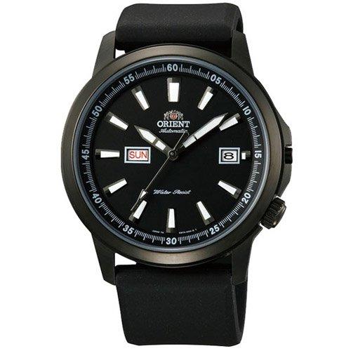 オリエント 時計 スティングレイ EM7K003B オートマチック デイデイトカレンダー ブラックダイアル×ブラックラバーベルト
