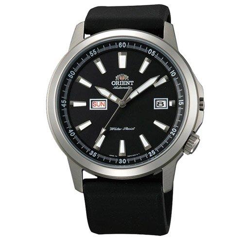 オリエント 時計 スティングレイ EM7K00AB オートマチック デイデイトカレンダー ブラックダイアル×ブラックラバーベルト