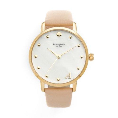 ケイトスペード 時計 KSW1098 メトロ イニシャルシリーズ ホワイト×ベージュレザーベルト