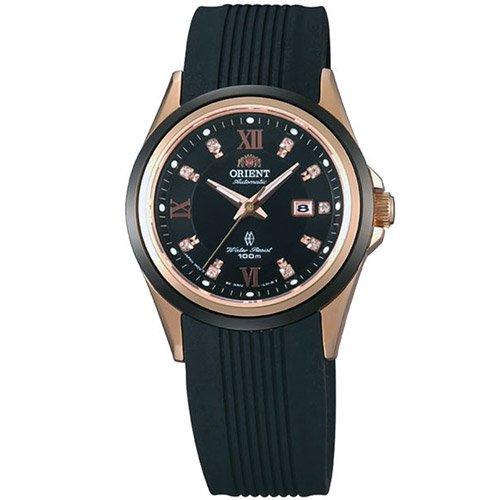 オリエント 時計 レディース GEM NR1V001B オートマチック ブラックダイアル×ブラックラバーベルト