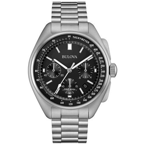 ブローバ 時計 ムーンウォッチ 96B258 ブラック×ステンレススチールベルト