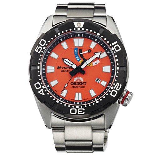 オリエント 時計 M-フォース EL0A003M オートマチック ダイバーズウォッチ オレンジダイアル×ステンレスベルト