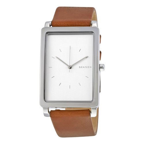 スカーゲン 時計 メンズ SKW6289 ハーゲン レクタンギュラー ホワイト×ブラウンレザー